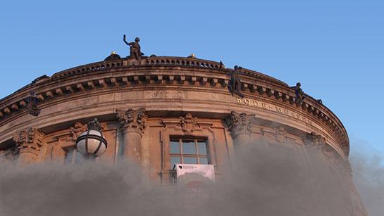Bodemuseum während der Sprengung