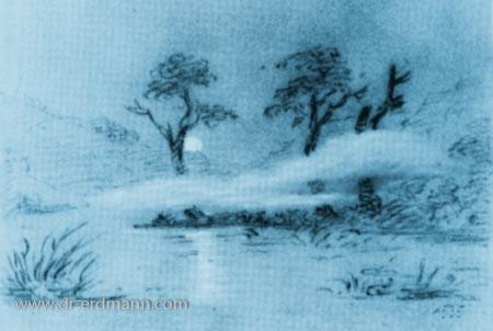 Zeichnung Goethes: Aufgehender Mond am Brocken